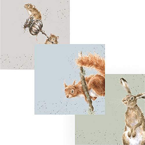 Wrendale Papierservietten-Set – Hase und Biene, Akrobat Eichhörnchen und Mäuse – insgesamt 60 Servietten