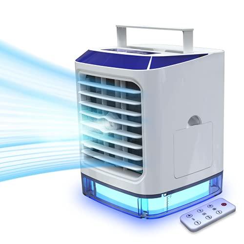 Aire Acondicionado Portatil con Mando a Distancia 4-in-1 Mini Enfriador de Aire, Ventilador, Humidificador, Purificador con 3 Velocidades y 7 Colores Luz USB Aires Acondicionado Portátiles para Casa