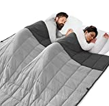 ROKDUK King Weighted Blanket Throw 88x104in Couples Size 35 lbs. Soft Cooling Reversible 1800TC Cotton Alternative with Glass Beads, Dark Grey/Light Grey