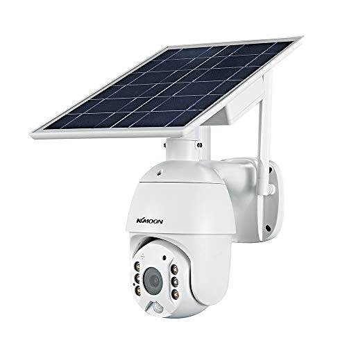 Walmeck Cámara de seguridad inalámbrica con panel solar 1080P Cámara de vigilancia con batería recargable impermeable para exteriores de 2MP con visión nocturna a todo color Compatible con detección h