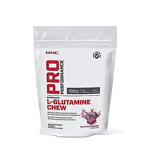 GNC Pro Performance L-Glutamine Chew - Delicious Grape, 60 Chews, Supports Positive Muscle Function and Immune Response