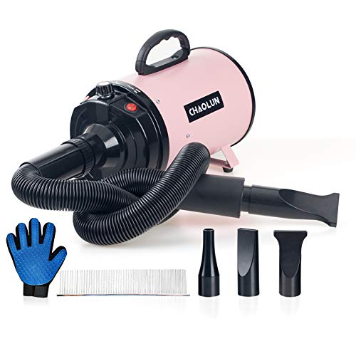 CHAOLUN Dog Dryer High Velocity Professional Pet Dog Blow Dryer 3.2HP - Dog Hair Grooming Dryer with Heater, Stepless Adjustable Speed, 3 Different Nozzles, a Comb & Pet Grooming Glove, Pink