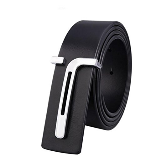 HOADOAOIFSA Cintura uomo,Vera pelle Parallela fibbia Smart Casual BusinessCintura-nero-A 115cm(45inch)