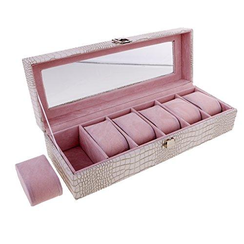 MagiDeal Stilvoll Uhren Box für 6 Uhren Uhrenkasten mit Glas Deckel Geschenk für Frauen Männer - Weiß