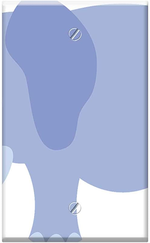 Single Gang Blank Wall Plate Cover Blue Elephants Baby Animals Mammals Young Small