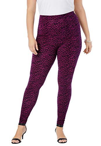 Roamans Women's Plus Size Ankle-Length Essential Stretch Legging Activewear Workout Yoga Pants - 6X, Berry Animal