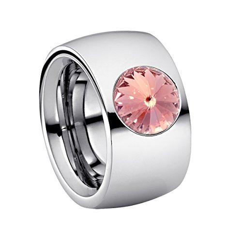 Heideman Ring Damen Coma 14 aus Edelstahl Silber farbend poliert Damenring für Frauen mit Swarovski Stein Kristall Light Rose pink im Fantasie Edelsteinschliff 10mm