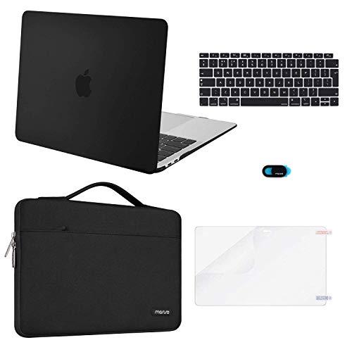 MOSISO plastic harde case & aktetas & toetsenbordbescherming & displaybescherming & Webcam Cover Compatibel met nieuwe MacBook Air 13 inch met Retina-scherm zwart