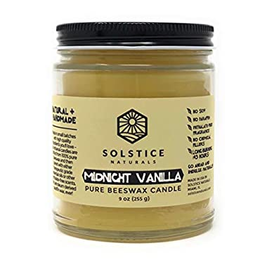 Midnight Vanilla Scented Natural 100% Pure Beeswax Candle, 9 oz - Great for Home Bathroom Living Room Office Study Yoga Spa
