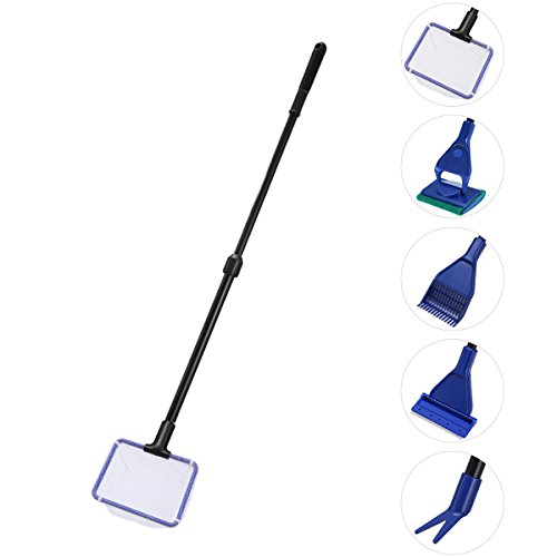 UEETEK 5 in 1 Cleaning Kit für Aquarium Fische Glas Tank Kies Rechen Algen Schaber Flant Gabel Reinigungswerkzeug