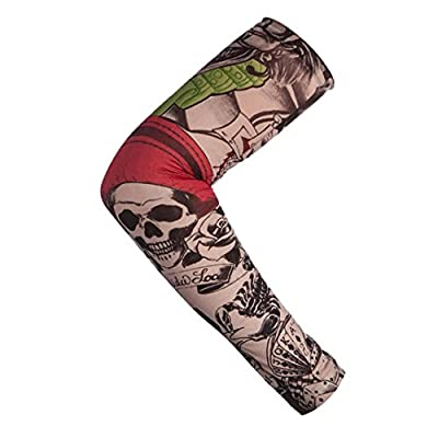 Fineser Body Art Fake Temporary Tattoo Arm Sleeves Nylon Elastic Temporary Tattoo Sleeve Designs Body Arm Stockings Tatoo