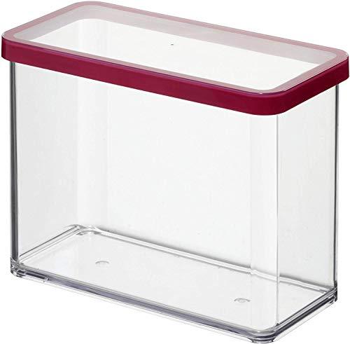 Rotho Loft rechteckige Vorratsdose 2,1l mit Deckel und Dichtung, Kunststoff (SAN) BPA-frei, transparent/rot, 2,1l (20,0 x 10,0 x 14,2 cm)