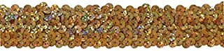 3 Row 1 1/4 Inch Stretch Sequin Trim, Las Vegas 3 Style, Gold Holographic, 6 YD