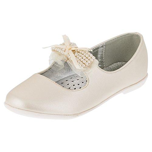 Giardino Doro Festliche Mädchen Ballerinas Schuhe mit Echt Leder Innensohle M413pws Perlmutt Weiß 36