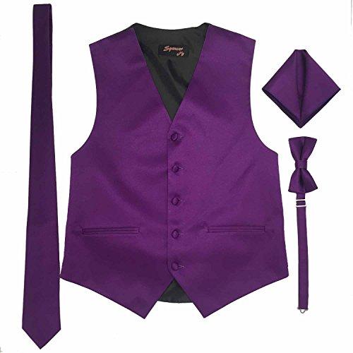 Spencer J's Men's Formal Tuxedo Suit Vest Tie Bowtie and Pocket Square 4 Piece Set Variety of Colors (XL (Coat Size 46-51), Violet)