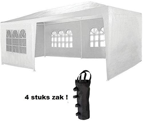 MaxxGarden partytent - Incl. gewichtzakken - 3 x 6 m - WIT - Feesttent, 18m2 paviljoen met 8 oprolbare zijwanden, waterafstotend, UV-bescherming