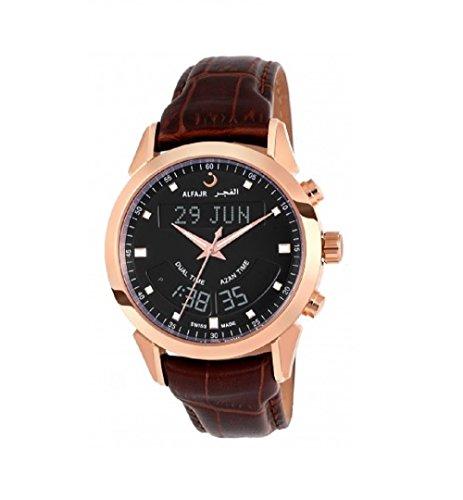 Alfajr wa-10b Deluxe marrón Piel Swiss Made Oración/Nimaz/Azan–Reloj para Hombres