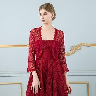 XKMY Chal nupcial elegante para mujer, chaqueta de encaje negro, para vestido de boda, manga larga, para fiesta de noche (color: rojo vino, tamaño: talla única)