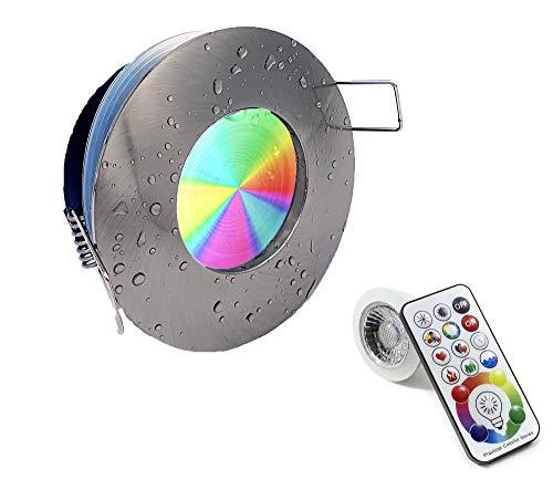 Portafaretto da incasso GU10 lampada faretto silver spazzolato per bagno doccia impermeabile waterproof a tenuta stagna cromoterapia RGBW 10W con telecomando cambia colore 6000K