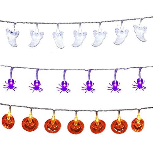 Guirnalda de luces LED para colgar de Halloween con mando a distancia impermeable para Halloween, funciona con pilas