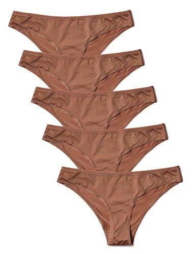 Amazon-Marke: Iris & Lilly Damen Brazilian Slip aus Mikrofaser, 5er-Pack, Braun (Brownie), M, Label: M