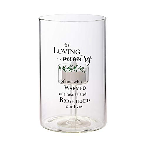 Lillian Rose Loving Memorial Sympathy LED Glass Tea Light Holder with Verse, 6.25', Clear