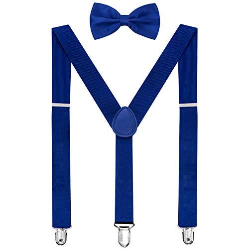 HABIBEE Solid Color Mens Suspender Y Shape with Strong Clips Adjustable Braces (Royal Blue)