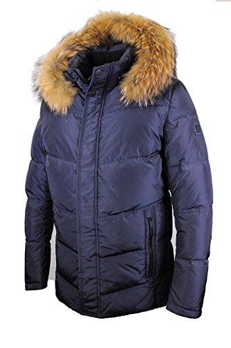 Snowimage Man SIM-G305 Herren Jacke Echtfell Kapuze (Länge: 78 cm) Daunen-optik Winterparka