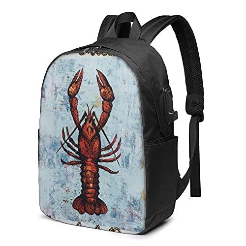XCNGG Mochila para portátil Crawfish Travel, Mochila con Puerto de Carga USB, para Hombres y Mujeres, se Adapta a 17 Pulgadas