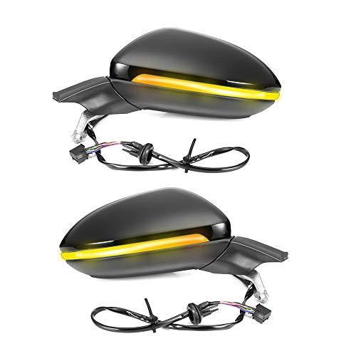 PSOIHGTFS Auto-Spiegel Kompatibel mit Golf 7 Mk7 Auto Folding Spiegel Elektrische Folding Seitenspiegel mit Licht 5GG 857 507 A & 5GG 857 508 A,Schwarz