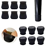 Upgraded 24 PCS Chair Leg Caps with Felt Bottom|Round&Square Silicone Chair Leg Covers for Mute Furniture Moving|Elastic Furniture Silicone Protection Cover to Prevent Scratches. (Black)