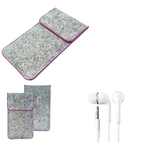 K-S-Trade Protective Felt Case Compatible With Lenovo Z5 Protective Bag Pouch Sleeve Mobile Phone Cover Light Gray Pink Edges + Earphones