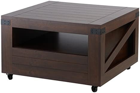 Best ioHOMES Clyde Industrial 1-Drawer Square Coffee Table with 1 Open Shelf, Magazine Rack and Caster Wh