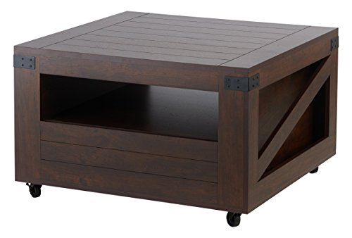 ioHOMES Clyde Industrial Wood Coffee Table with Caster Wheels, Vintage Walnut