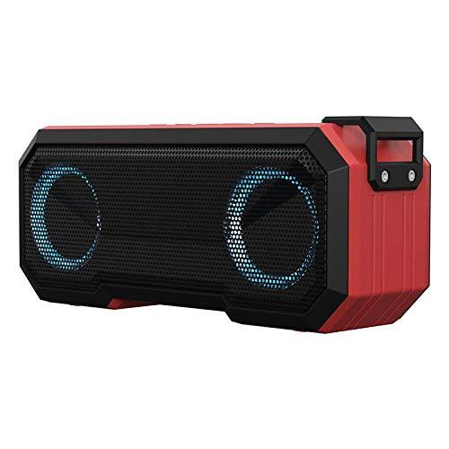 QAZW Radio de Ducha Impermeable Altavoz Bluetooth Ducha 12 Horas Música Altavoz de Ducha con Altavoz FM para baño Altavoz Portati Inalambrico con Potente Sonido Fuerte,Red-22.4 * 8CM