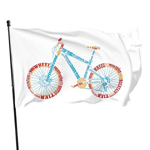 Shenhui mountainbike vuurrood tuin vlag, 3 x 5 voet 150 cm x 1472 cm, lente, zomer, herfst, tuin, welkom binnenplaats, outdoor decoratieve tuin vlag Eén maat zwart