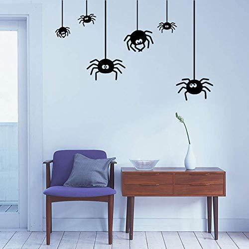 JIAHONG Pegatinas de pared de Decoración de pared pegatinas 6 arañas creativo Negro decorativo etiqueta de la pared, colgante de la araña de Halloween decoración del hogar de la etiqueta engomada