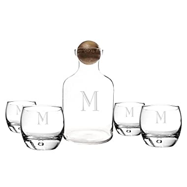 Cathy's Concepts Personalized Glass Liquor Decanter with Wood Stopper and Glasses Set, Whiskey, Letter M