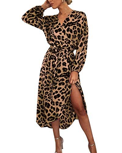 Auxo Damen Leopard Lange Kleid Langarmshirt Split Hohe Taille V Ausschnitt Maxi Dress Braun X-Large