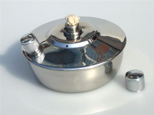 Spirituslampe mit extra Befüllöffnung, mit rundem Docht, 1A Qualität, Edelstahl - Spiritusbrenner Labor
