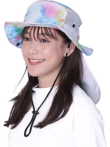 PONTAPES(ポンタペス) サーフハット 日よけ付き 全10色柄 水陸両用PAH-444 タイダイマルチ ML 帽子 ぼうし メンズ レディース キッズ 釣り アウトドア ジュニア 男の子 女の子
