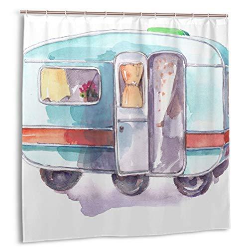 huagu Duschvorhang für Badezimmer Dekor Vorhänge Set,Anhänger Vintage Wohnmobil Wohnwagen Travel Adventure Camp Camper Stoff Badvorhänge mit Haken 150cmx180cm