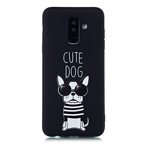 Artfeel Noir Souple Silicone Coque pour Samsung Galaxy A6 2018,Mignonne Chien Dessin animé Motif Ultra Mince Léger Arrière Étui,Flexible TPU Pare-Chocs Antichoc Housse