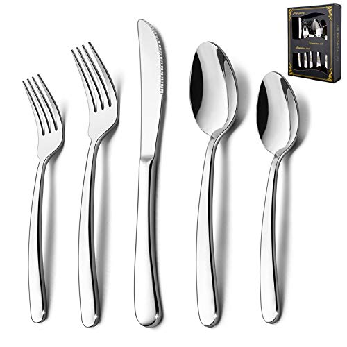 40-Piece Heavy Duty Silverware Set, HaWare Stainless Steel Solid Flatware Cutlery for 8, Modern & Elegant Design for Home/Restaurant/Wedding, Mirror Polished and Dishwasher Safe