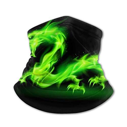Mj-Shop Máscara facial de dragón de fuego verde, polaina de cuello reutilizable, bufanda para cubrir la cara de enfriamiento de verano, diadema multifunción para niños y niñas, bandana juvenil
