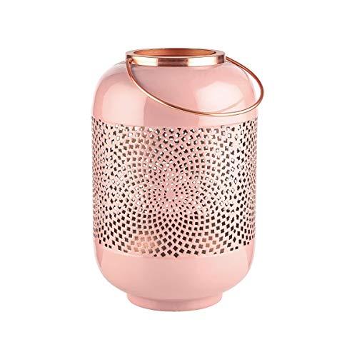 Butlers Emilie Laterne H?he 30cm in Ros? und Bronze - Orientalisches Windlicht aus Metall mit Ornamenten - Kerzenlaterne