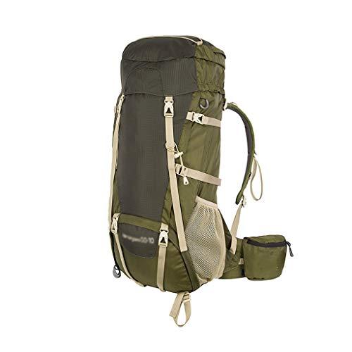 WEIFAN-Outdoor Hiking Backpack Sac à Dos en Plein air Sac à Dos Alpinisme Sac à Dos 50 + 10L est livré Housse de Pluie Tissu imperméable Grande capacité Armygreen