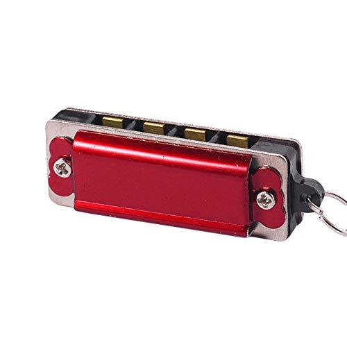 LIZHOUMIL Mini 4 agujeros 8 tono armónica collar colgante musical joyería moda vino rojo