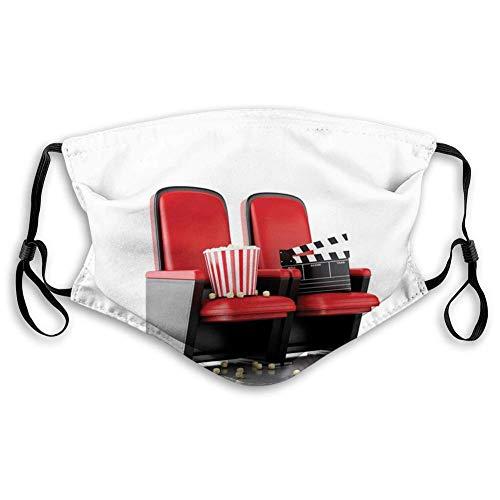 Máscara de tela reutilizable transpirable para pasamontañas, cine, ilustración 3D, tabla de clapper y palomitas de maíz en teatro, adolescentes. Tamaño: S