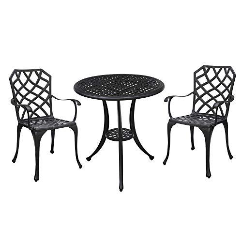 Benzara BM177947 - Mesa y Dos sillas de Estilo transicional, Color Negro